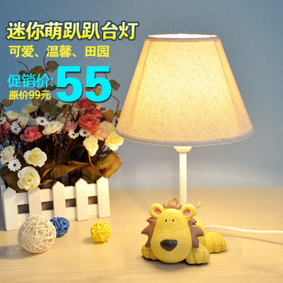 Mini resin cartoon table lamp child real bedside lamp rustic fabric small table lamp gift подсвечник rcr 8 марта женщинам