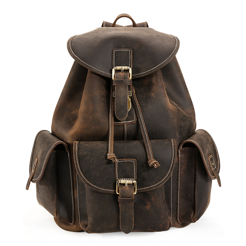 man travel bags genuine leather 2017 new fashion brand men brown cow leather vintage casual student backpack bags male 皮客优一p kuone头层牛皮双肩包女韩版书包 女 中学生女士小背包p750688 黑色