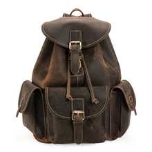 man travel bags genuine leather 2017 new fashion brand men brown cow leather vintage casual student backpack bags male