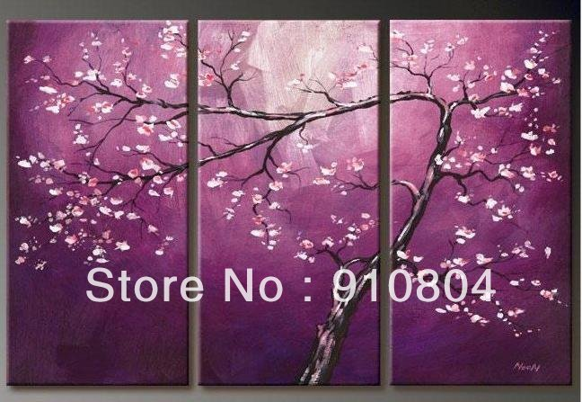 Framed 3 Panels Hand Painted High End Huge Wall Decor Canvas Art Purple Cherry Blossom Tree Paintings L1102 - 99$ store