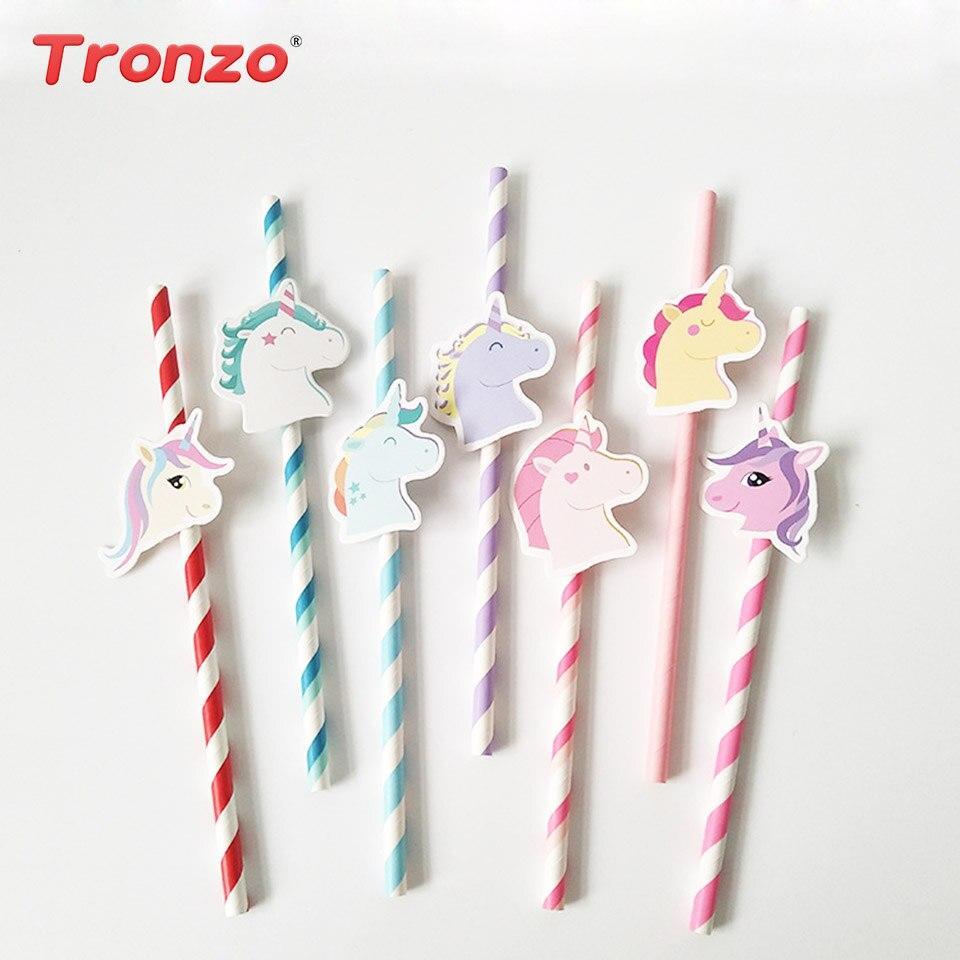 Tronzo 10st / lot Unicorn Party Paper Straw Cartoon Söt Straw - Semester och fester