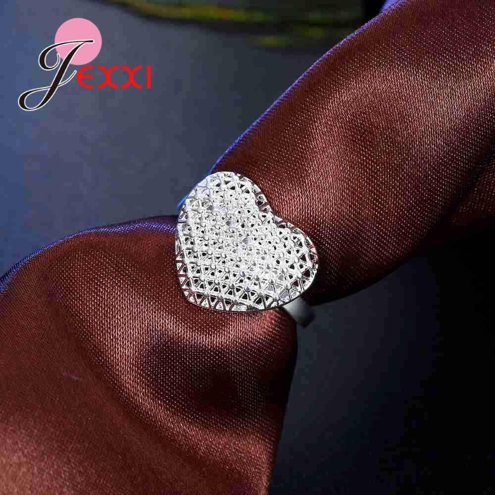 透かし高品質 925 スターリングシルバー中空デザイン誇張スタイルの愛のハート形の指リング花嫁のジュエリーアクセサリー