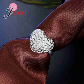 Openwork High Quality 925 Sterling Silver Hollow Design Exaggerated Style Love Heart Shape Finger Ring Bride Jewelry Accessories 1