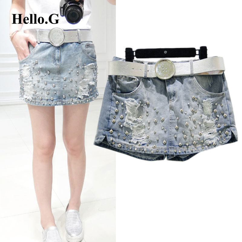 Plus Size S M L Summer Style Embroidered Flares Ripped Jeans Shorts With High Waist Torn