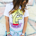 Summer Casual Short Sleeve T-shirt 2016 Cartoon Lisa Printed T shirt Women Harajuku Unisex Lovers Student Tops
