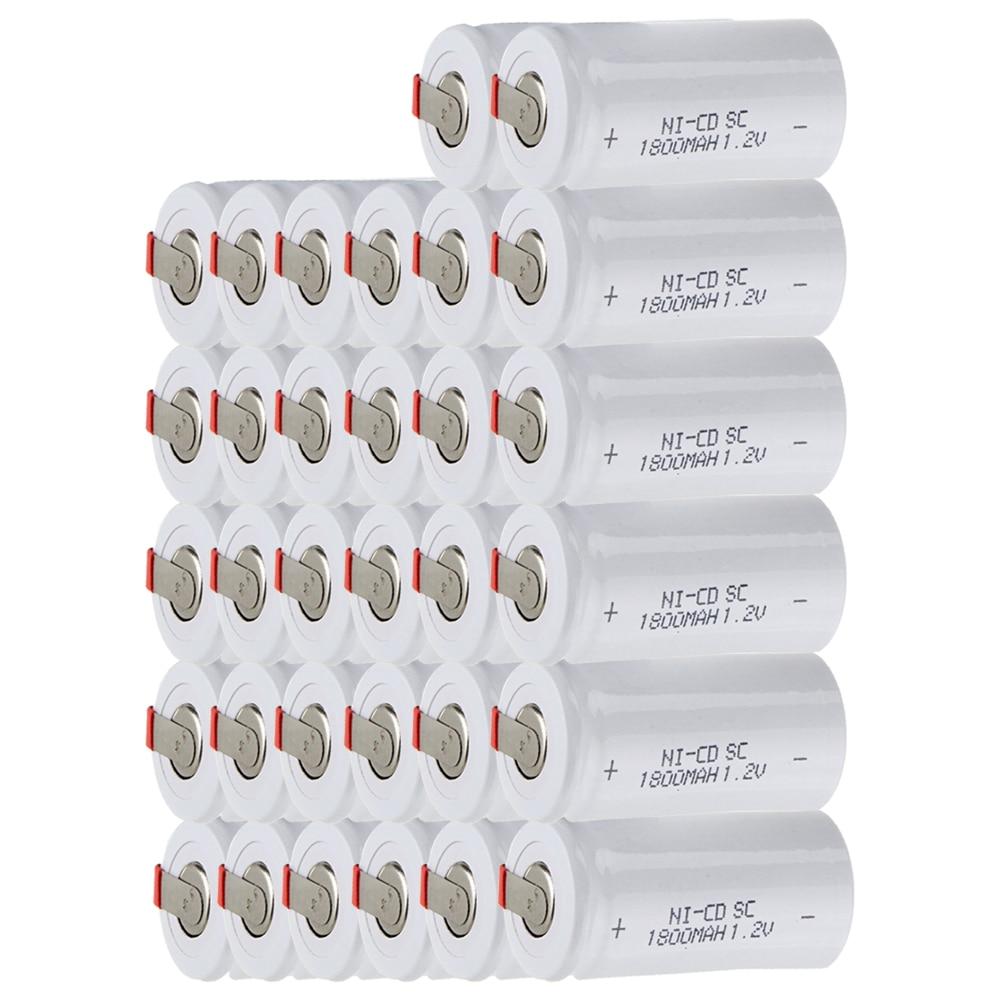 Prix le plus bas 32 pièces SC batterie 1.2 v batteries rechargeables 1800 mAh nicd batterie pour outils électriques akkumulator