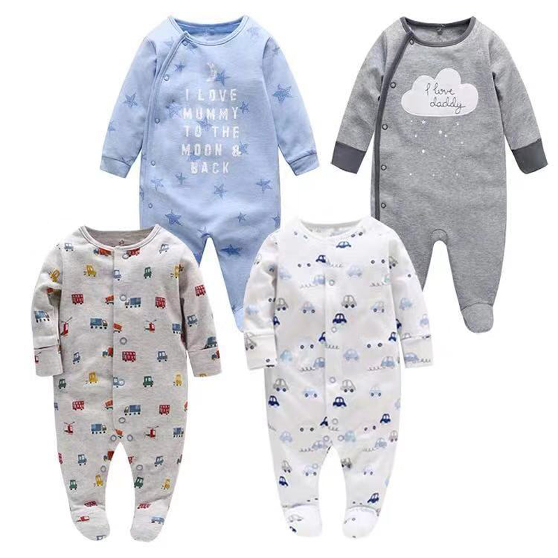 Snlaevx Newborn Baby Boy Cotton Patchwork Romper Tattoo Printed Long Sleeve Soft and Comfortable Autumn Bodysuit Gray, Age:3-6 Months