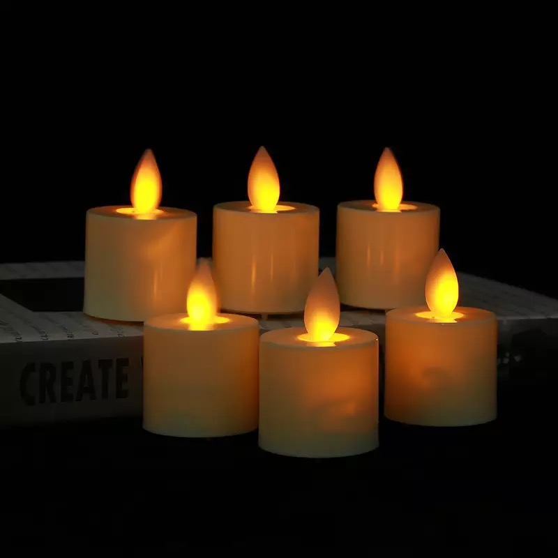 Ivory Swinging Dancing Moving Wick Home Wedding Party-amber Friendly Set Of 6 Flameless Tealight Led Votive Candle 3.7cm dia h *4.8cm