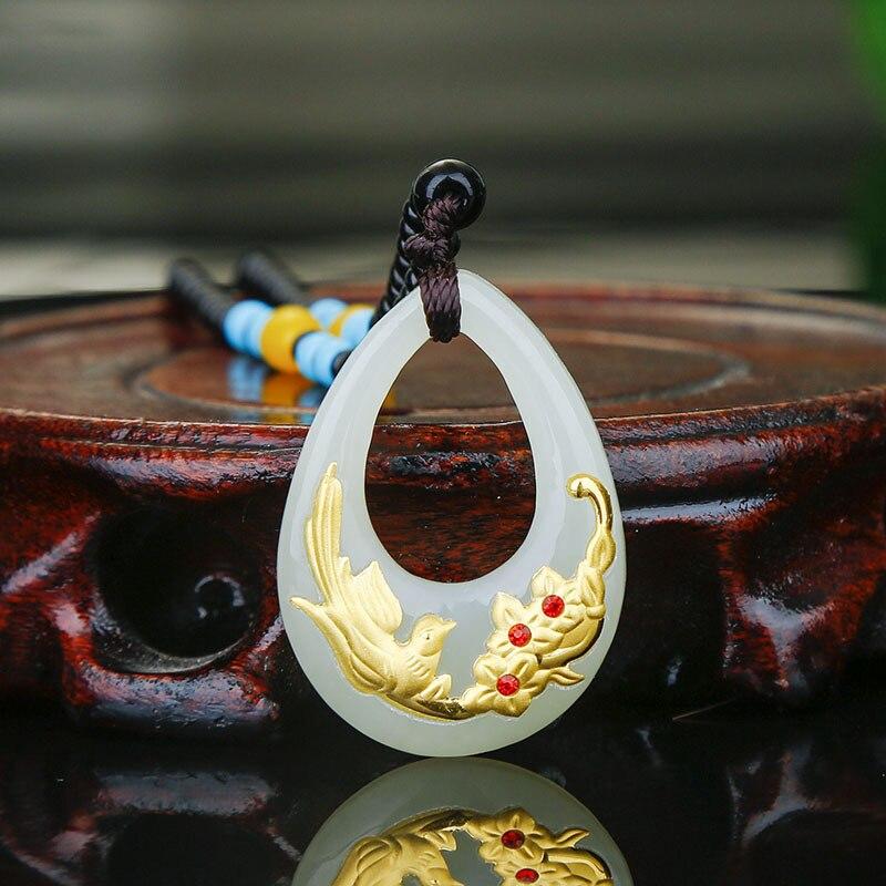 Hetian Jade Pendant For Men Women Unisex Heart-shaped Flower Pendant Necklace Female Male Jewelry 2018 NewHetian Jade Pendant For Men Women Unisex Heart-shaped Flower Pendant Necklace Female Male Jewelry 2018 New