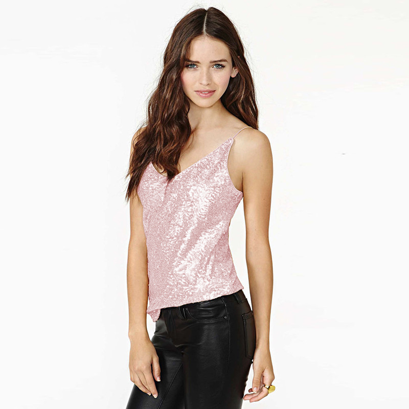 2019 Summer Pop New Fashion Women Sexy Sling Trim V Collar Gold Sequins Small Vest Pink Green Gold Solid Casual Camis Tank Top