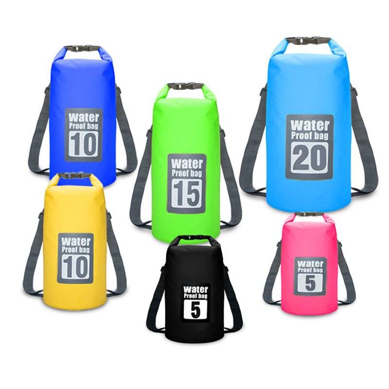 Waterproof Swimming Backpack Bag 5L 10L 15L 20L Portable Ultralight Waterproof Floating Bag Outdoor Camping Storage Dry Sack Bag 1