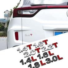 Flyj metal 3d 1.4 1.5 1.6 1.8 2.0 2.2 2.4 2.5 2.8 3.0 t l logotipo do carro de boa qualidade sticke tronco traseiro emblema da cauda emblema deslocamento
