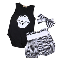 3PCS Set Newborn Baby Girl Clothes 2017 Summer Sleeveless Slip Romper Striped Bloomers Bottom Outfit Toddler