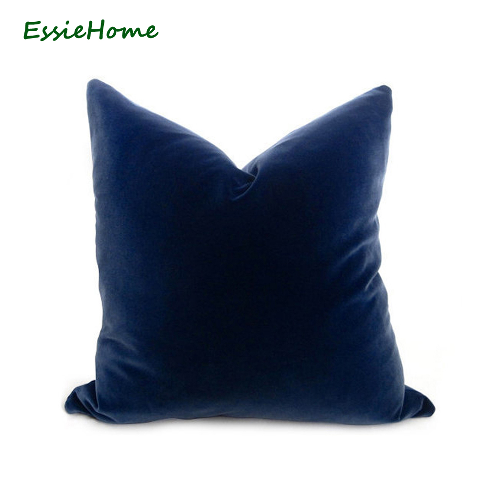 ESSIE HOME Luxury Sapphire Blue Vivid Blue Royal Blue Velvet Cushion Cover Pillow Case Lumbar Pillow Case