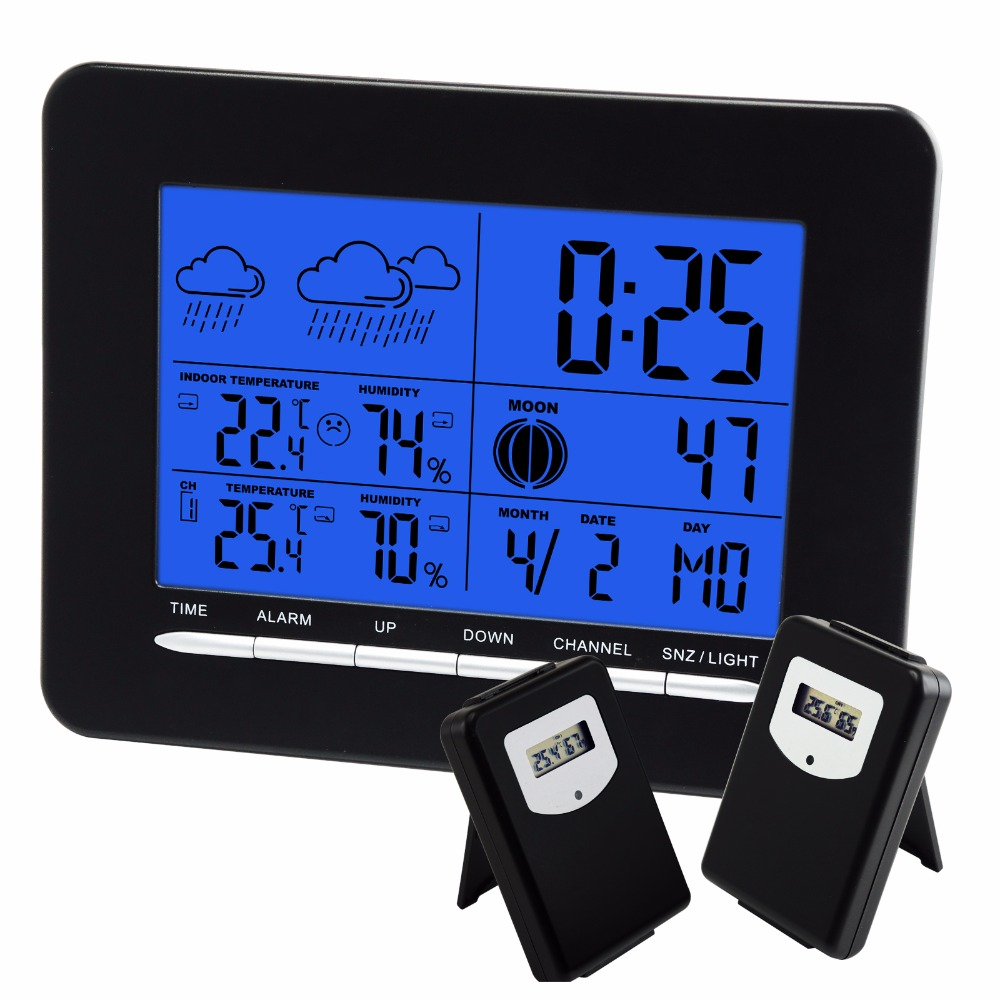 Digital Indoor/Outdoor Temperature Wireless Weather Station RCC DCF Radio Controlled Clock Date Calendar + 2 sensors digital wireless weather station indoor outdoor thermometer temperature humidity w rcc radio controlled clock 2 remote sensor