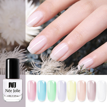 NEE JOLIE Translucent Jelly Nail Polish Semi-transparent 3.5ml Pink White Mixed Color Manicure Art Varnish