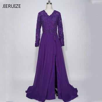 JIERUZIE robe de soiree Lace Appliques Beaded Long Sleeves Evening Dresses Side Slit Formal Dresses Mother of the Bride Dresses
