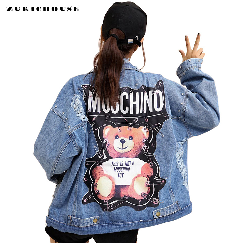 ZURICHOUSE Brand Ladies Denim Jackets Bear 2019 New Patch Sequins Pins Street Wear Long Sleeve Punk Loose Women Jackets Jeans(China)