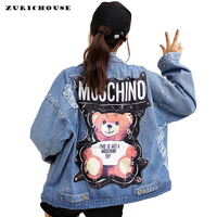 ZURICHOUSE Brand Ladies Denim Jackets Bear 2019 New Patch Sequins Pins Street Wear Long Sleeve Punk Loose Women Jackets Jeans