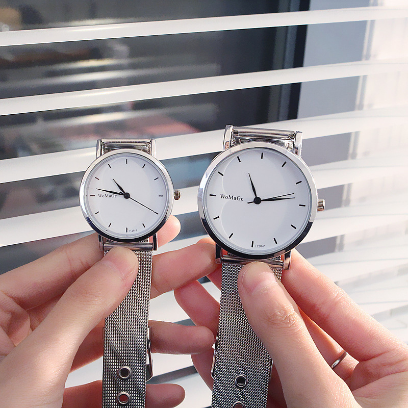 Couple Watches Lover Fashion Stainless Steel Mesh Band Couples Wristwatch Lover's Simple Casual Watch For Men Women Gift Relogio
