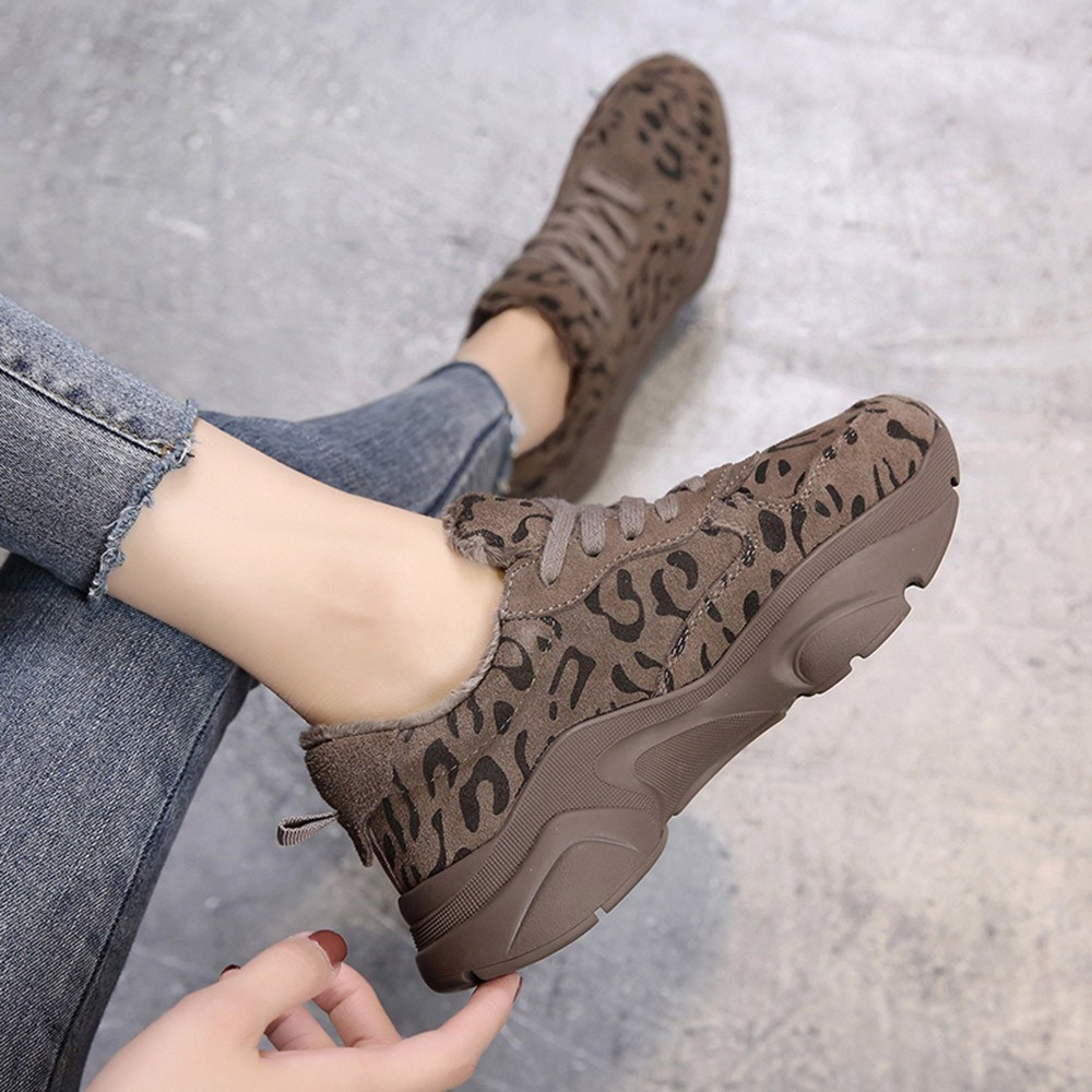 KANCOOLD Fashion Warm Leopard Print Sneakers Women Sport Running Round Toe Shoes Comfortable Athletic Trainers Footwear
