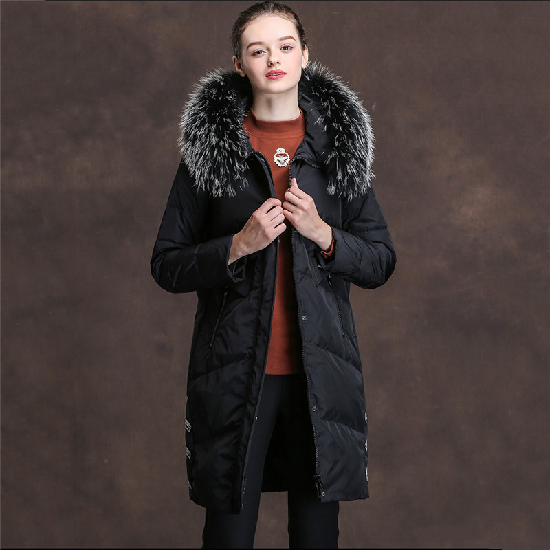 Women Down Jacket 2018 Autumn Winter New parkas Loose Thick Fox Fur Collar Hooded Coats Long White Duck Down Outerwear Women 730