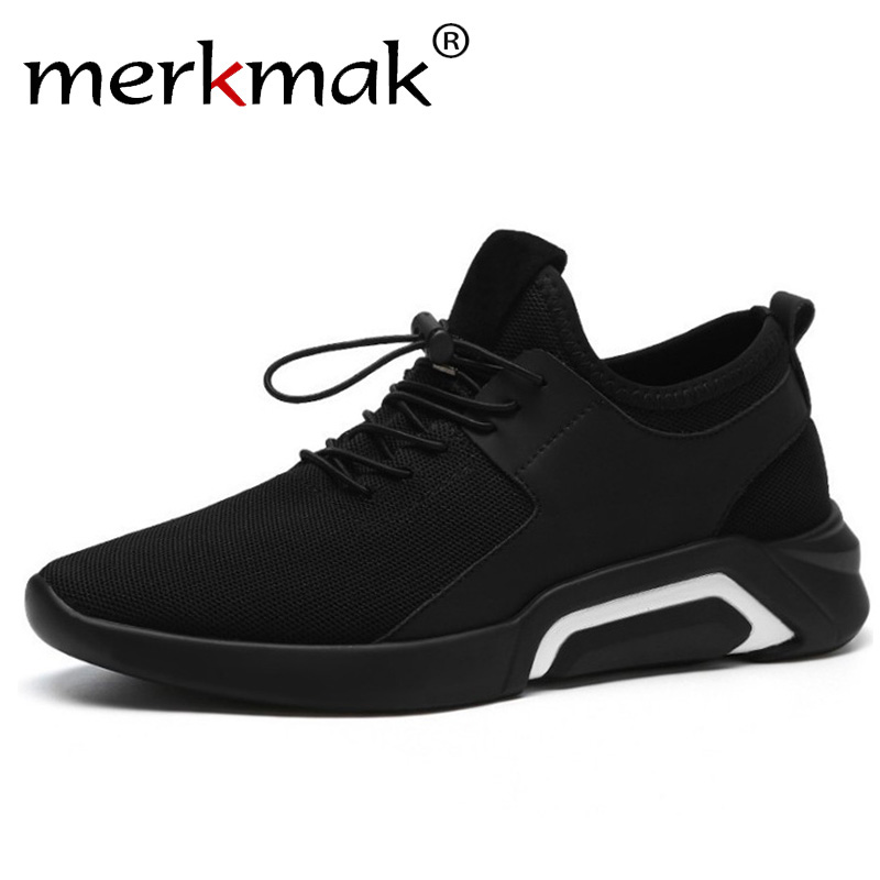 Merkmak Brand 2019 New Casual Sneakers Men Breathable Comfortable Mesh Men Shoes Fashion Elastic band Walking Soft Footwear Flat(China)