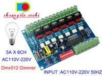 AC110V 220V High voltage 50HZ 6 channels Dimmer board 6CH DMX512 Decoder DMX 5A/CH For Incandescent light bulbs Stage lights