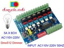 AC110V   220V Điện Áp Cao 50HZ 6 Kênh Mờ Ban 6CH DMX512 Bộ Giải Mã DMX 5A/CH Cho bóng Đèn Sợi Đốt Đèn Sân Khấu