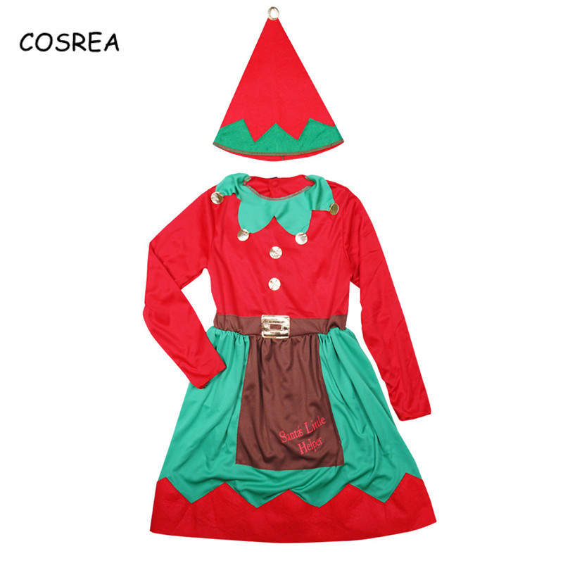 Cosrea Cosplay Costumes Elf Dresses for Girl Kids Merry Christmas Santa Claus Beanies Xmas Hat Cap Long Sleeve New Year