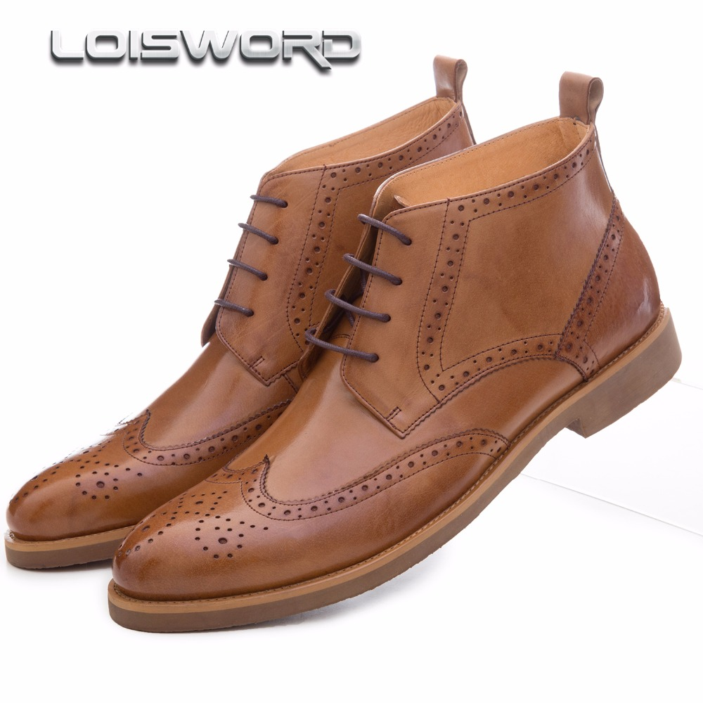 цены Fashion black / brown oxfords shoes mens boots genuine leather shoes mens dress boots business mens ankle boots