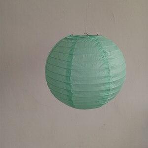 """Image 4 - 20 pçs 6 """" 12"""" mint lanternas de papel verde chinês japonês lampion redondo para festa de casamento lampion de mariage pendurado decoração diy"""