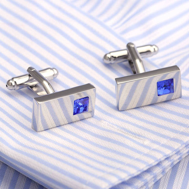 Vagula Blue Crystal Cufflinks Gemelos French Shirt Cuff Links Brass Button Cuffs 223