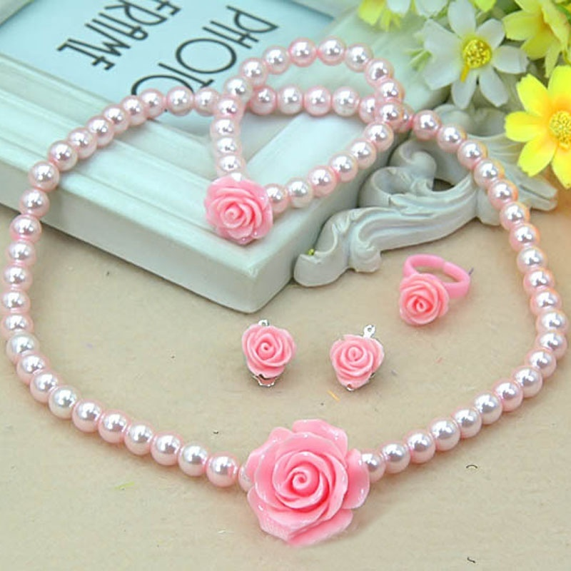 Summer 1 set Fashion Kids Girls Child Pearl Flower Shape Necklace Bracelet Ring Ear Studs Clips Jewelry Set Gift Sale
