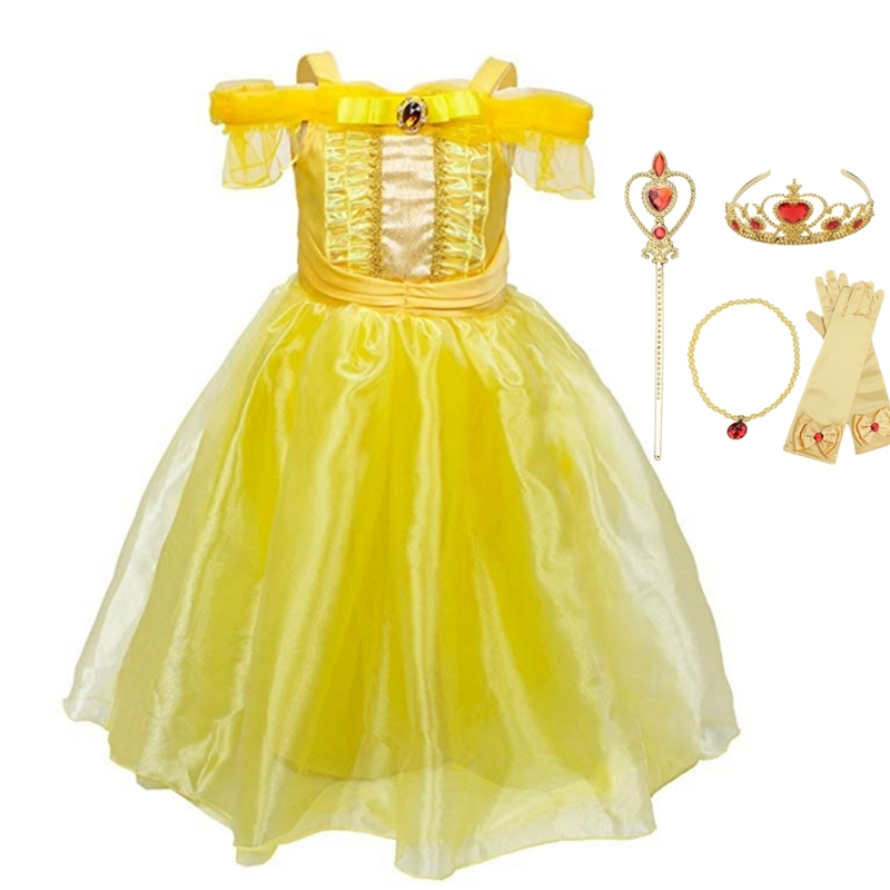 FINDPITAYA Girls Belle Dress Summer Straps Beaut And The Beast Princess Costume Children Halloween Cosplay Party Fantasy Clothes