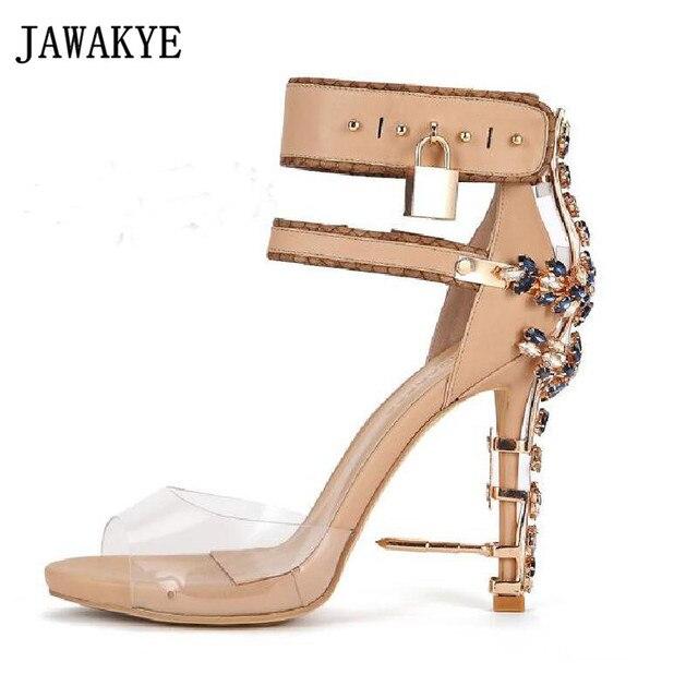a707222133e Clear PVC High Heels Gladiator Spiked Sandals Boots metal decor Rhinestone  Lock Diamon crystal studded wedding shoes women