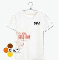 Kpop b1a4 mini albümü solo günü baskı beyaz tişörtlü moda yaz kısa kollu o boyun pamuk tee fanlar t-shirt