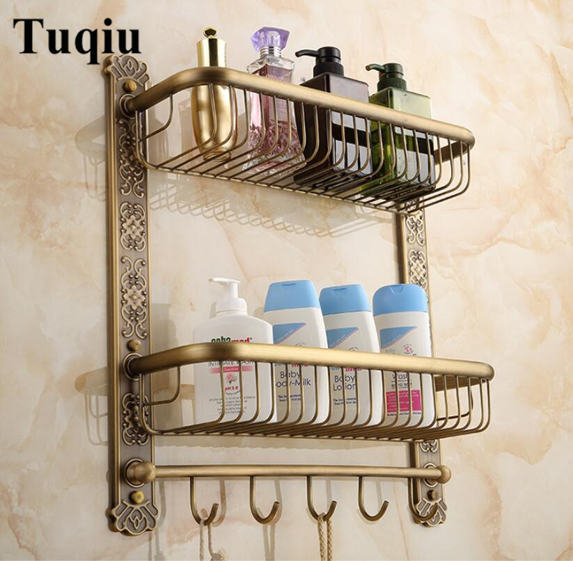 Wall Mounted Antique Brass Bathroom Shelf with towel rack and robe hooks Bath Shampoo shelf dual tiers Carved Corner shelf nail free foldable antique brass bath towel rack active bathroom towel holder double towel shelf with hooks bathroom accessories