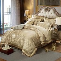 Wongsbedding金ジャカードベッドカバー寝具セット100%コットン生地高級ベッドリネンキングサイズ4ピース寝