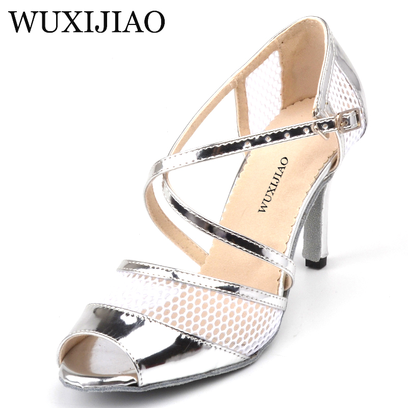 WUXIJIAO Summer Breathable mesh and PU Dance Shoes Ladies Latin Black/Silver sapato salto Ballroom Dance Shoes heel 8.5cmWUXIJIAO Summer Breathable mesh and PU Dance Shoes Ladies Latin Black/Silver sapato salto Ballroom Dance Shoes heel 8.5cm
