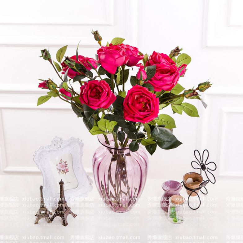 ... New PU Wild Roses Burst Artificial Silk Flowers Decorate The Living Room  Dining Table Flower Arrangements ... Part 65