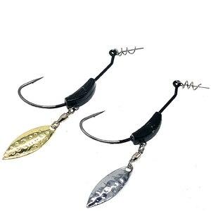 Image 1 - 3 pçs/lote 2g 4g 7g willow weighted swimbait gancho com twist lock spin superline primavera ganchos de pesca