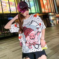 Cartoon printed short sleeved T shirt female tide brand 2019 summer loose ulzzang Harajuku BF wind ice silk half sleeve