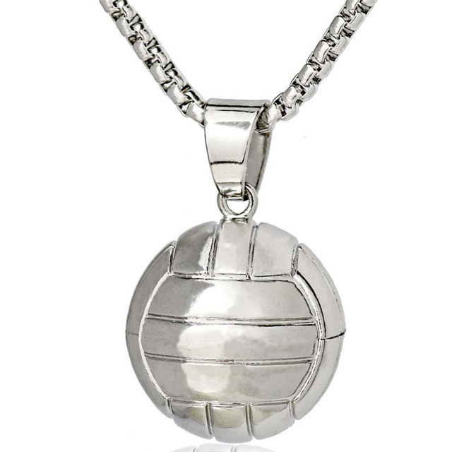 3d volleyball sports pendant necklace i love volleyball stainless 3d volleyball sports pendant necklace i love volleyball stainless steel chain ball charms pendnat necklace men aloadofball Image collections