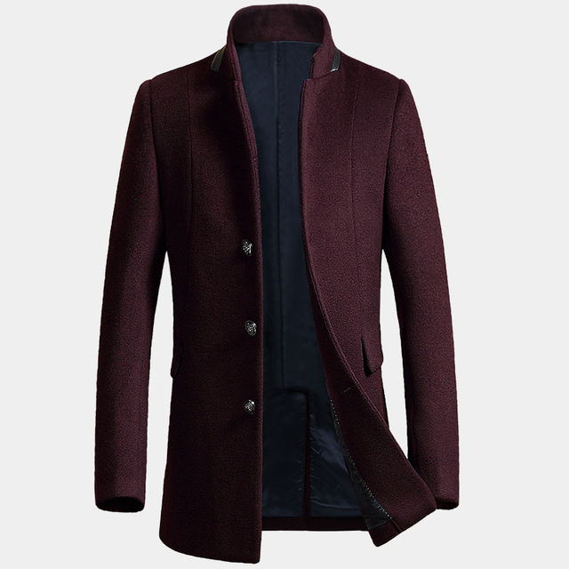 Autumn New Casual Gray Wine Red Colors Manteau Cachemire Homme