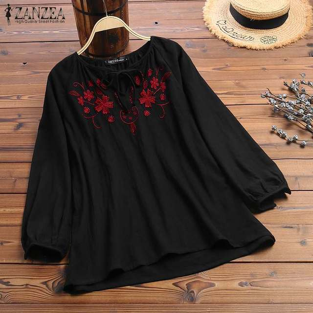 2019 ZANZEA Vintage Embroidery Shirt Autumn Blouse Women V Neck Long Sleeve Cotton Linen Tops Plus Size Robe Femme Party Blusas 1