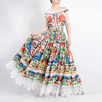 High Quality Fashion Designer 100% Cotton Maxi Dress Women's Gorgeous Floral Print Lace Patchwork Holiday Party Long Dress