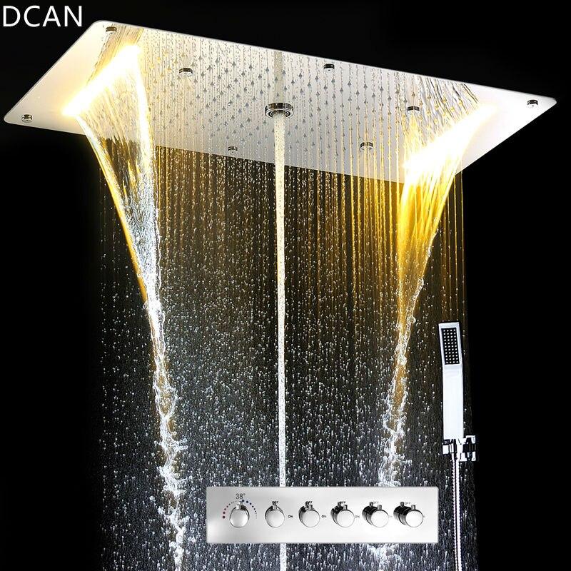 Ensemble de douche de luxe accessoires plafond multifonction Led bande pomme de douche ensemble avec pluie cascade pulvérisation brouillard colonne d'eau