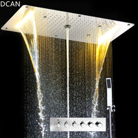 Luxury Shower Set Accessories Ceiling Multifunction Led Strip Shower Head Set with Rainfall Waterfall Spray Mist Water Column