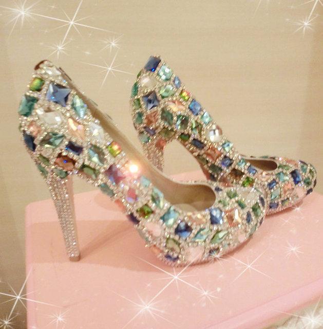 8a6409a4ae570 Sheepskin handmade rhinestone claw drill gem dinner platform high heeled  wedding shoes crystal bridal shoes